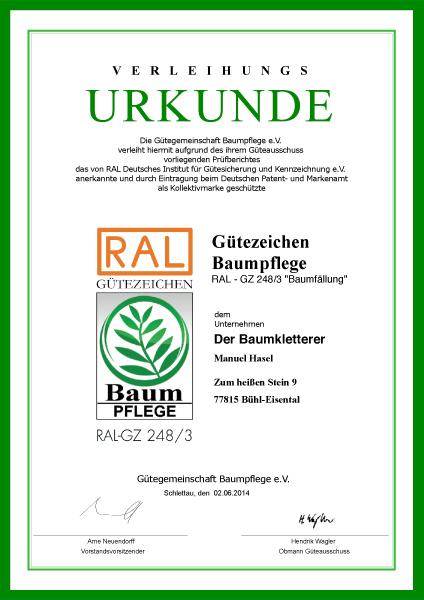 Zertifizierung Hasel Buehl RAL Gütezeichen